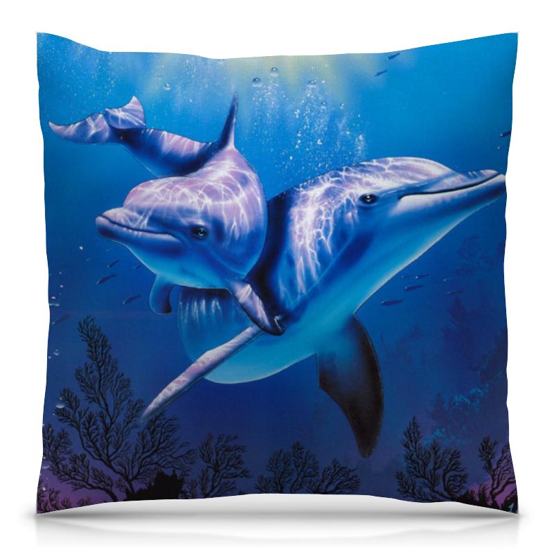 Подушка 40х40 с полной запечаткой Printio Дельфины подушка 40х40 с полной запечаткой printio влюбленные дельфины