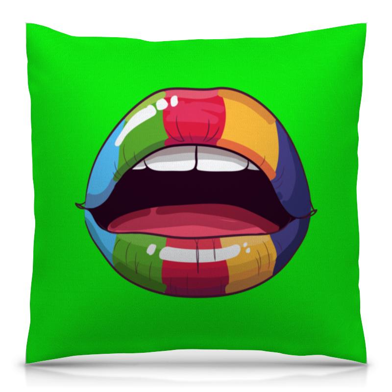 Подушка 40х40 с полной запечаткой Printio Разноцветные губы цена