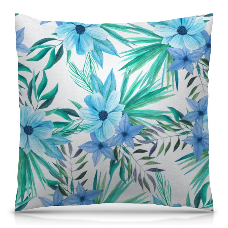 Printio Синие цветы подушка 40х40 с полной запечаткой printio синие цветы