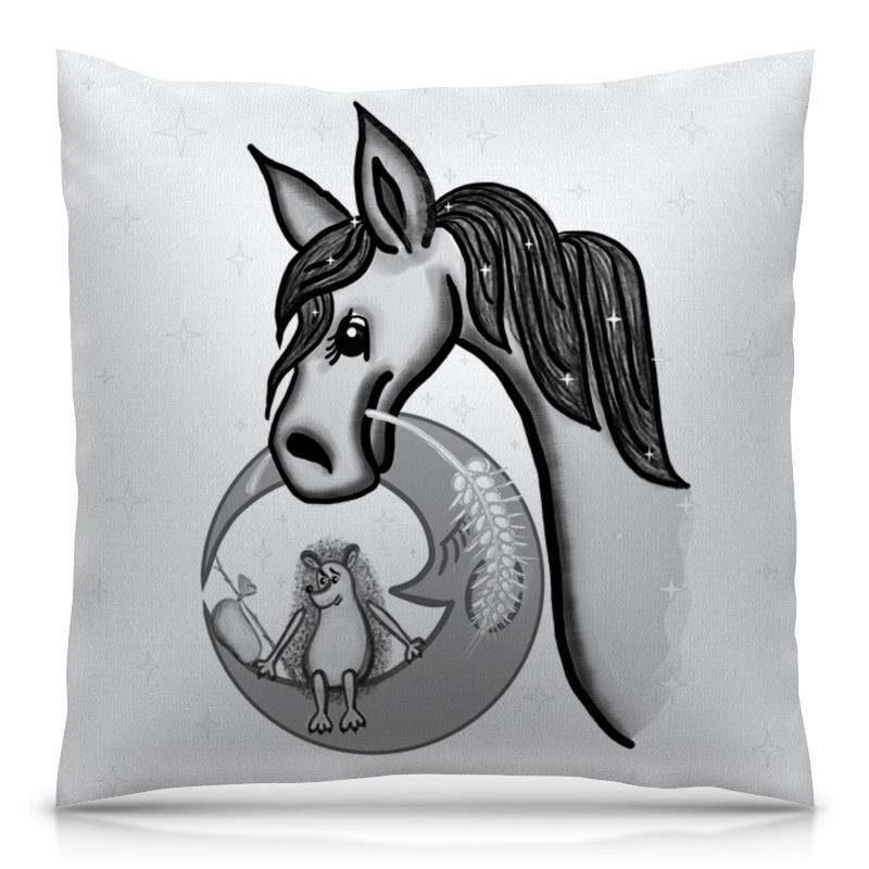 Printio Ежик на луне и лошадка в тумане подушка 60х40 с полной запечаткой printio ежик на луне