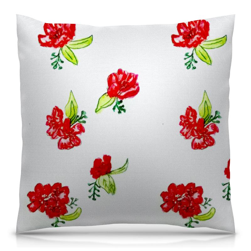 Printio Подушка красные цветы