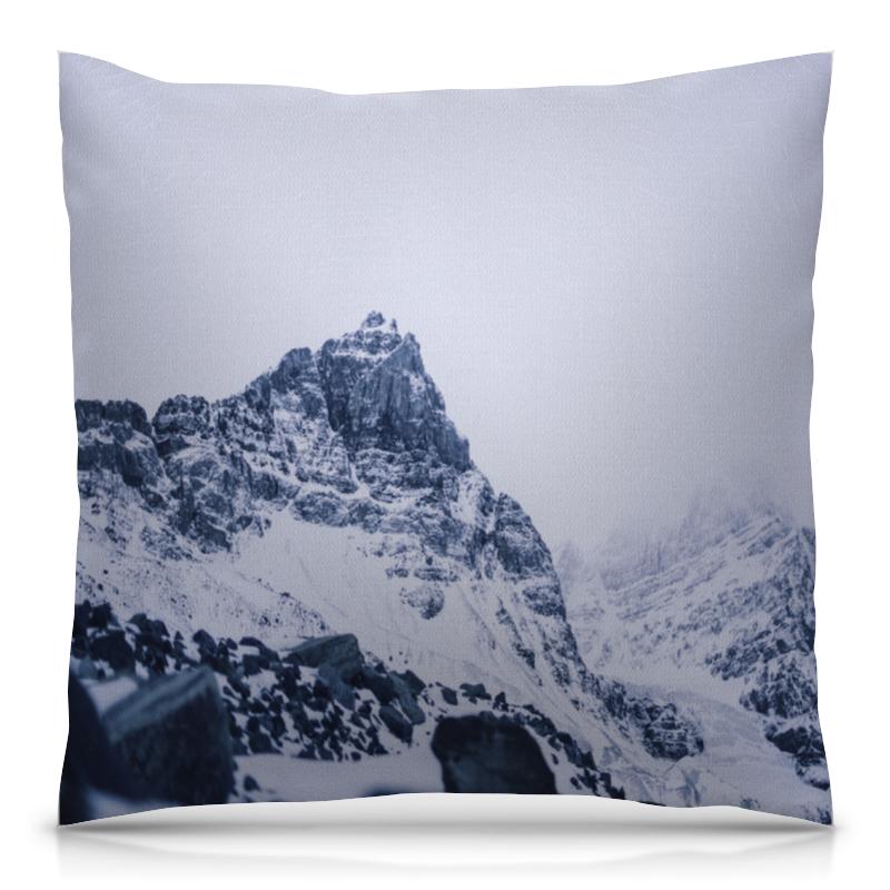 Подушка 40х40 с полной запечаткой Printio Снежные скалы ким с стрелок черной скалы