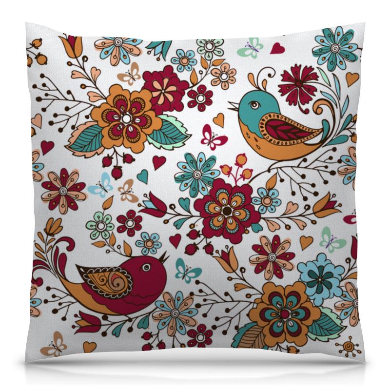 Подушка 40х40 с полной запечаткой Printio Птицы и цветы