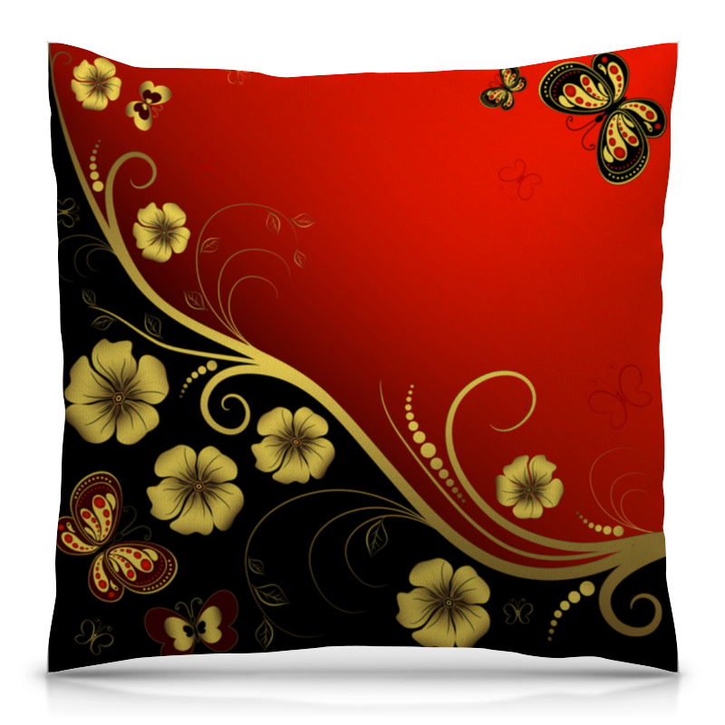 Printio Золотые цветы подушка 40х40 с полной запечаткой printio полет бабочек
