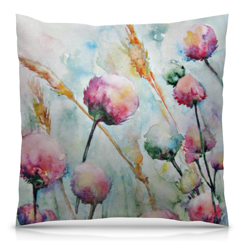 Подушка 40х40 с полной запечаткой Printio Цветы. утро рисуем цветы акварелью