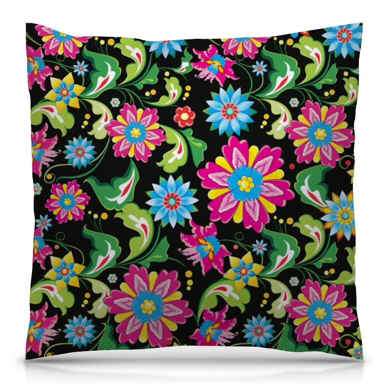 Printio Узор цветов подушка 40х40 с полной запечаткой printio весенний узор