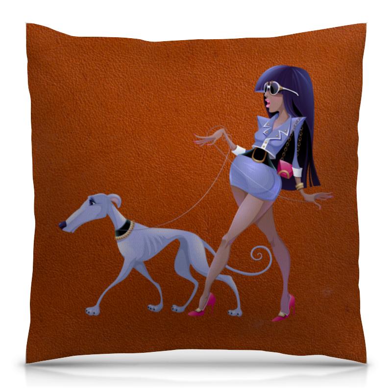 Подушка 40х40 с полной запечаткой Printio Леди с собакой