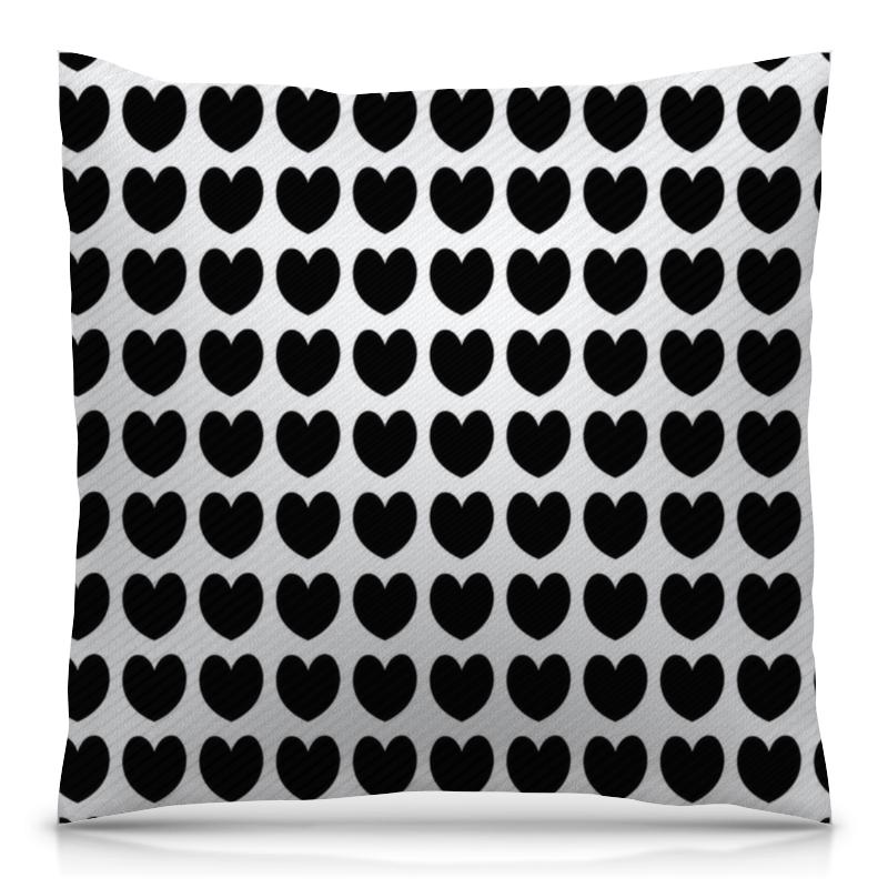 Подушка 40х40 с полной запечаткой Printio Черные сердечки