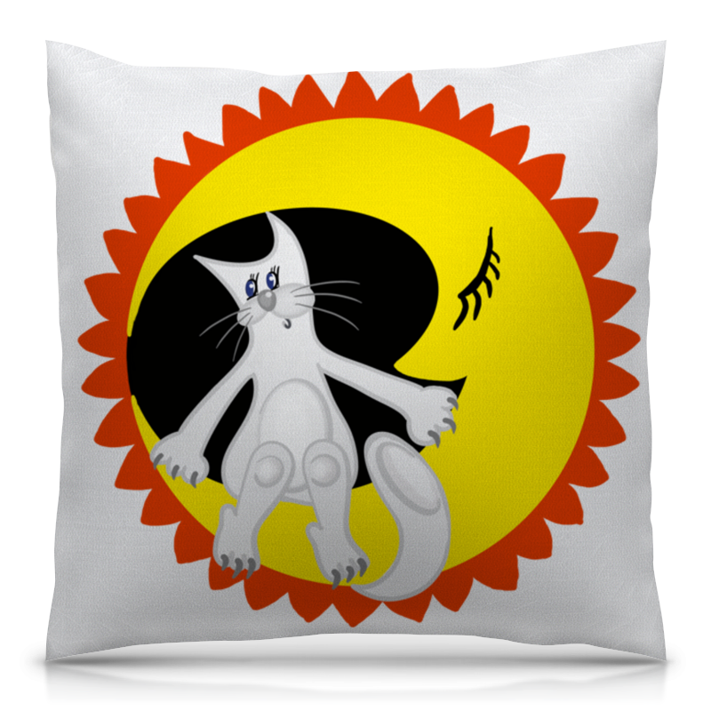 Подушка 40х40 с полной запечаткой Printio Лунный кот сидит на луне цены