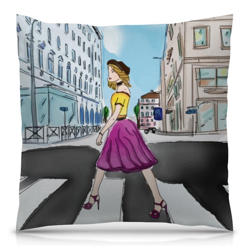цена Подушка 40х40 с полной запечаткой Printio Девушка в городе онлайн в 2017 году