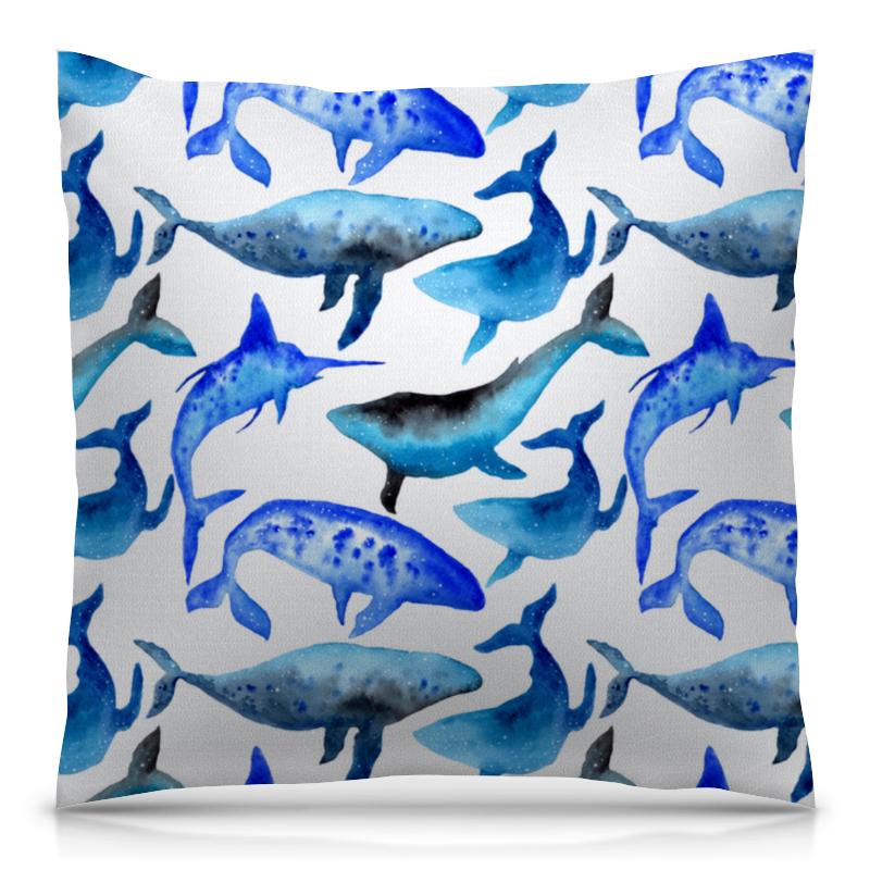 Printio Акварельные киты подушка 40х40 с полной запечаткой printio акварельные краски