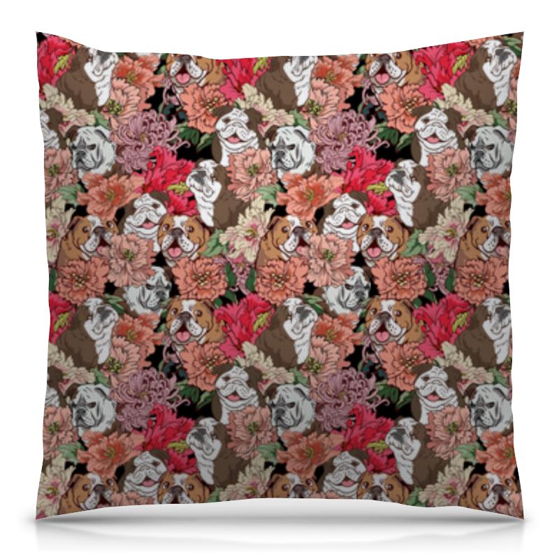 Подушка 40х40 с полной запечаткой Printio Dogs and flowers плед флисовый 130х170 см printio тропические цветы