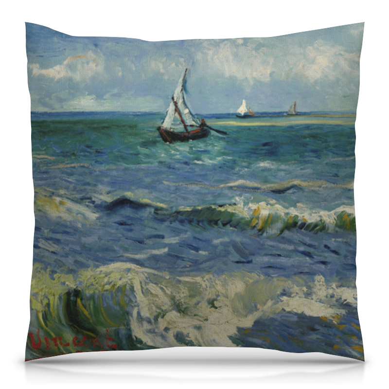Подушка 40х40 с полной запечаткой Printio Морской пейзаж у сент-мари-де-ла-мер (ван гог) де ла мотт а игра