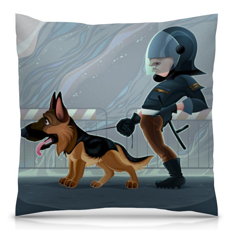 Подушка 40х40 с полной запечаткой Printio Коп с собакой