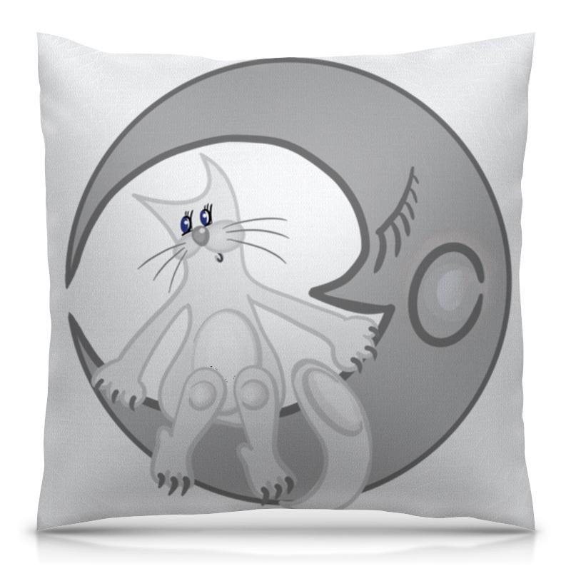 Подушка 40х40 с полной запечаткой Printio Лунный кот сидит на луне