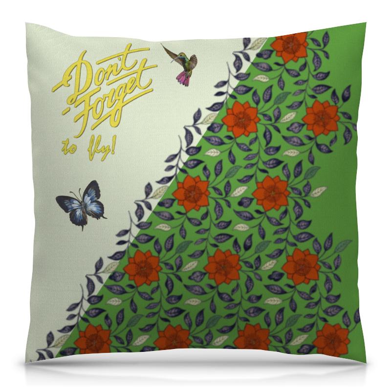 Подушка 40х40 с полной запечаткой Printio Не забывайте летать! с бабочками. вариант №171127a счастье летать ёжедневник