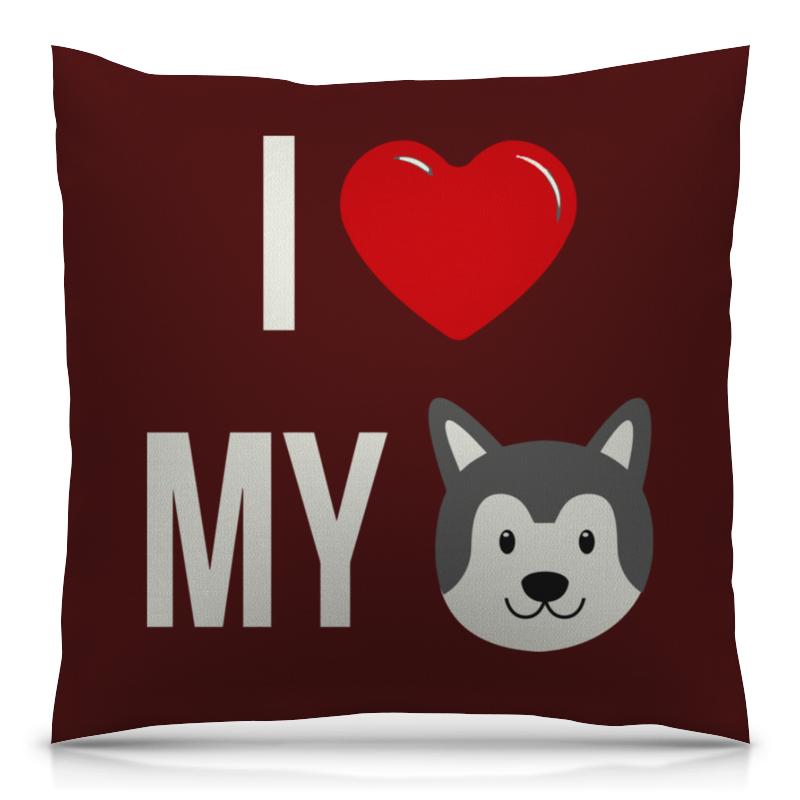 Подушка 40х40 с полной запечаткой Printio Я люблю свою собаку большую мягкую игрушку собаку лежа в москве