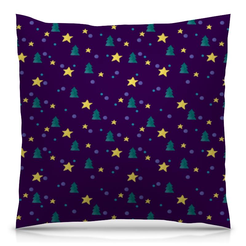 Подушка 40х40 с полной запечаткой Printio Елки и звезды