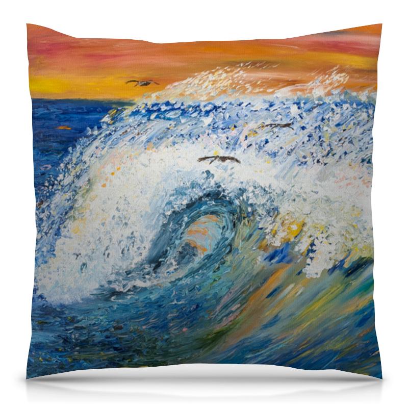 Подушка 40х40 с полной запечаткой Printio Волна авторский браслет пена морская самоцветы