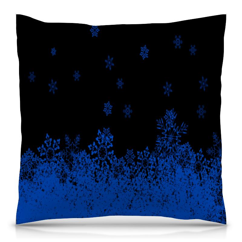 Printio Синие снежинки подушка 40х40 с полной запечаткой printio синие цветы