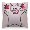 """Подушка 40х40 с полной запечаткой """"Розовый поросёнок с бенгальскими огнями"""" - арт, счастье, свин, розовый поросенок, бенгальский огонь"""