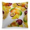 """Подушка 40х40 с полной запечаткой """"Тропические фрукты"""" - фрукты, рисунок, тропики, папайя, маракуйя"""