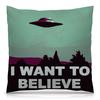 """Подушка 40х40 с полной запечаткой """"Хочется верить..."""" - инопланетяне, нло, тарелки"""