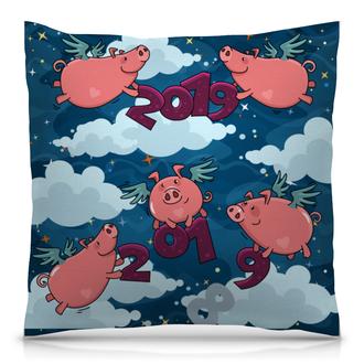 """Подушка 40х40 с полной запечаткой """"Свинья - ангел"""" - новый год, свинья, звёздное небо, 2019, год свиньи"""