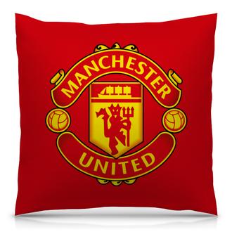 """Подушка 40х40 с полной запечаткой """"Красные дьяволы"""" - футбол, manchester united, мю, дьяволы"""