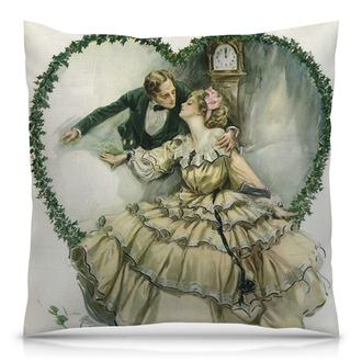 """Подушка 40х40 с полной запечаткой """"Винтажные влюбленные"""" - любовь, день святого валентина, 14 февраля, ко дню влюбленных, valentine's day"""