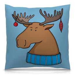 """Подушка 40х40 с полной запечаткой """"Новогодний лось"""" - новый год, шарф, животное, лось"""