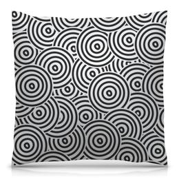 """Подушка 40х40 с полной запечаткой """"Радиальная"""" - узор, рисунок, стильный, круги, кольца"""