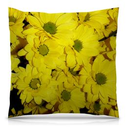 """Подушка 40х40 с полной запечаткой """"Жёлтые хризантемы"""" - цветы, хризантемы, жёлтые цветы"""