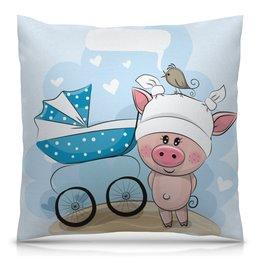 """Подушка 40х40 с полной запечаткой """"Свинья"""" - коляска, поросёнок, 2019, год свиньи, новый год"""