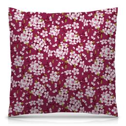 """Подушка 40х40 с полной запечаткой """"Цветущая вишня"""" - красиво, природа, цветочки, цветущая вишня, красивые цветы"""