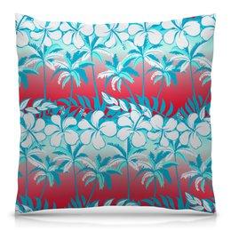 """Подушка 40х40 с полной запечаткой """"Пальмы"""" - цветочки, пальмы, природа, цветы, тропики"""