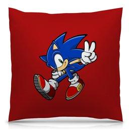 """Подушка 40х40 с полной запечаткой """"Sonic"""" - игры, ежик, мульт, соник, sonic"""