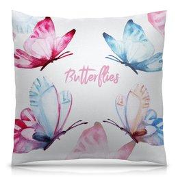 """Подушка 40х40 с полной запечаткой """"Бабочки"""" - бабочки, весна, watercolor, акварельный клипарт"""