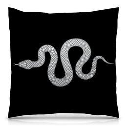 """Подушка 40х40 с полной запечаткой """"Белая змея."""" - змея, опасность, чёрный, яд, гадюка"""