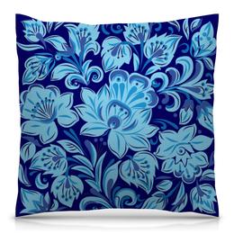 """Подушка 40х40 с полной запечаткой """"Голубые цветы"""" - цветы, хохлома, природа, букет, роспись"""