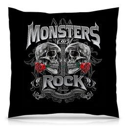 """Подушка 40х40 с полной запечаткой """"МУЗЫКА. MONSTERS ROCK"""" - черепа, красота, эмблема, розы, стиль надпись логотип яркость"""