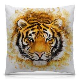 """Подушка 40х40 с полной запечаткой """"Зверь"""" - хищник, животные, огонь, тигр, зверь"""