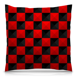 """Подушка 40х40 с полной запечаткой """"Красная и Чёрная клетка"""" - дизайн, клетка, красное и чёрное"""