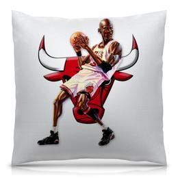 """Подушка 40х40 с полной запечаткой """"Michael Jordan Cartooney"""" - 23, чикаго, бык, chicago bulls, джордан"""