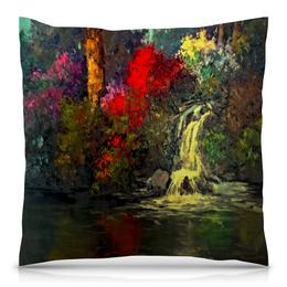 "Подушка 40х40 с полной запечаткой ""Водопад"" - пейзаж, природа, водопад, краски, картина"