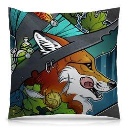 "Подушка 40х40 с полной запечаткой ""Fox the Witch "" - ведьма, fox, лиса"