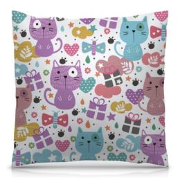 """Подушка 40х40 с полной запечаткой """"Котики и бабочки"""" - кот, бабочки, животные, сердечки, котики"""