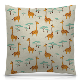 """Подушка 40х40 с полной запечаткой """"Жирафы"""" - животные, сафари, жирафы"""