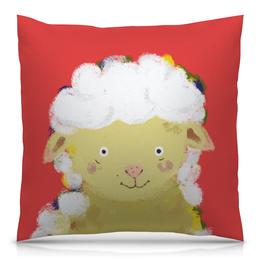"""Подушка 40х40 с полной запечаткой """"Обнимашки с овечкой"""" - баран, овца, детская комната, детская иллюстрация"""