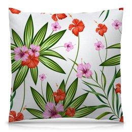 """Подушка 40х40 с полной запечаткой """"Тропические цветы"""" - природа, цветочки, лето, тропики, цветы"""